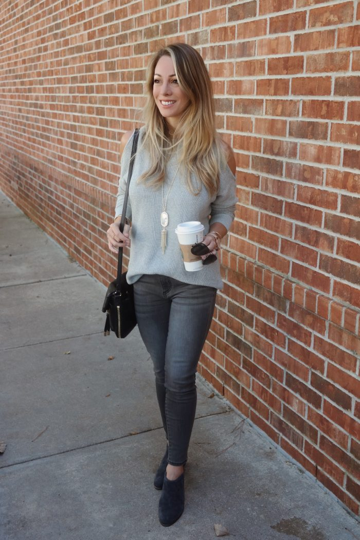 grey jeans with grey cold shoulder top