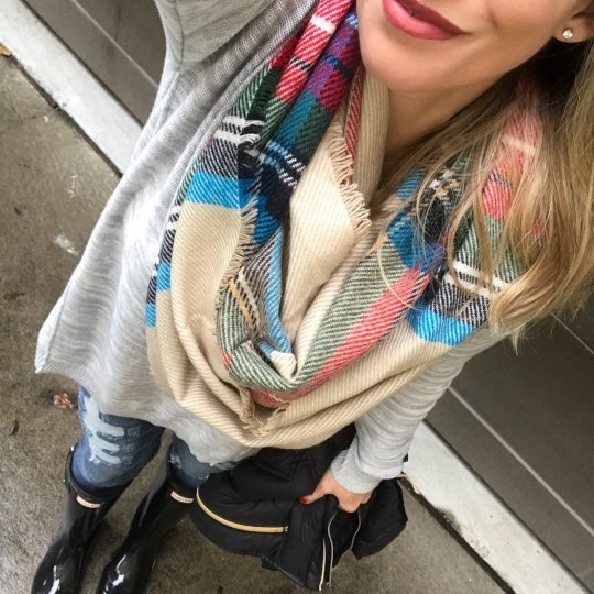 hunter boots plaid infinity scarf