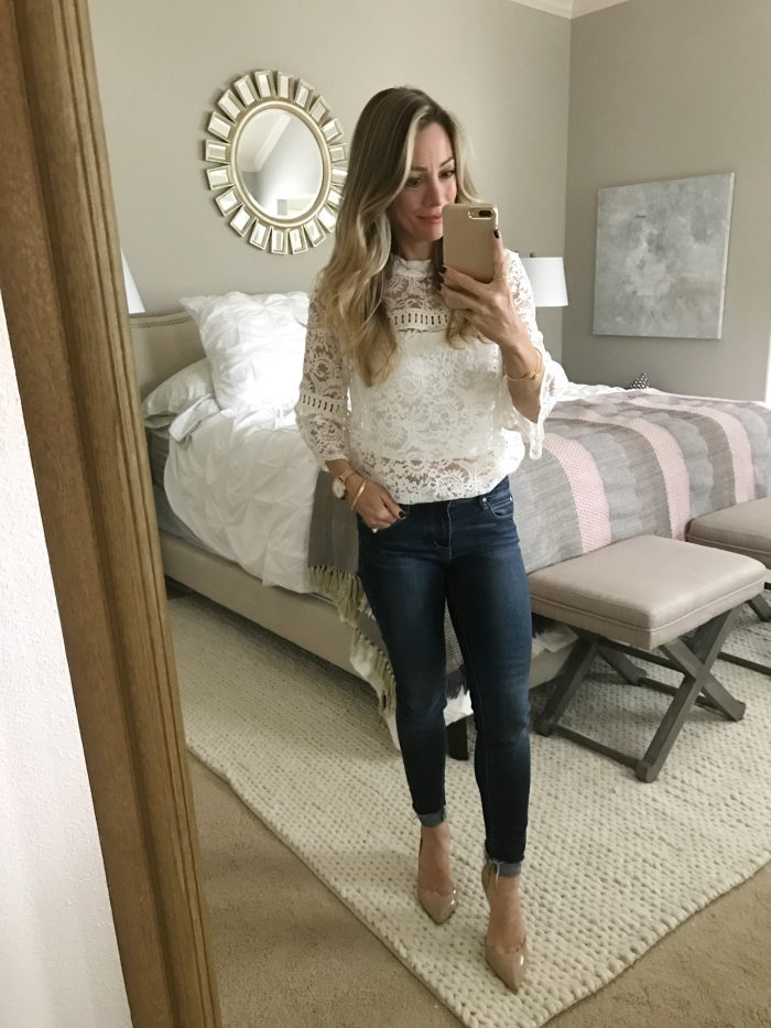 lace top with skinny jeans