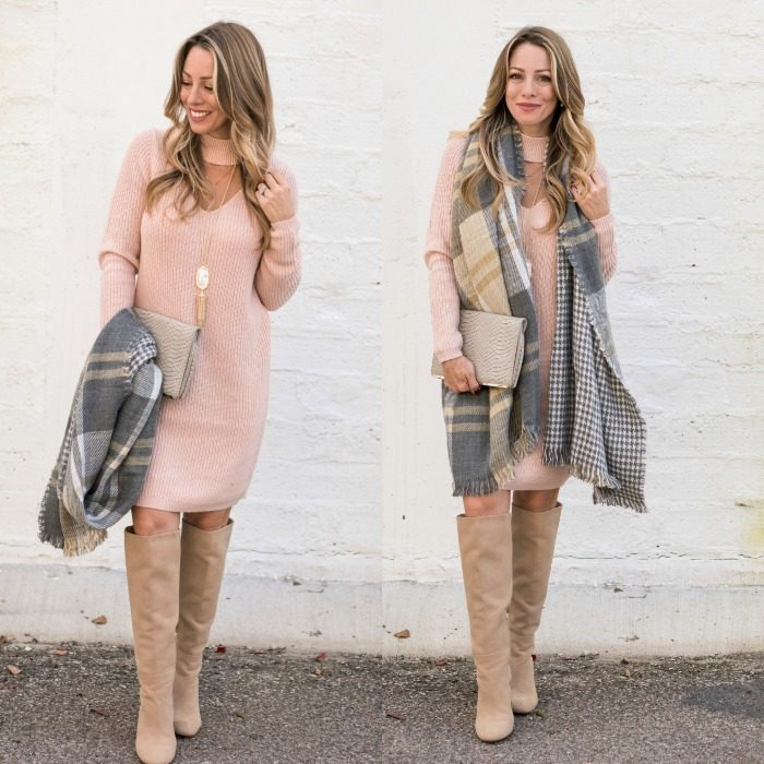 pink sweater dress with grey scarf