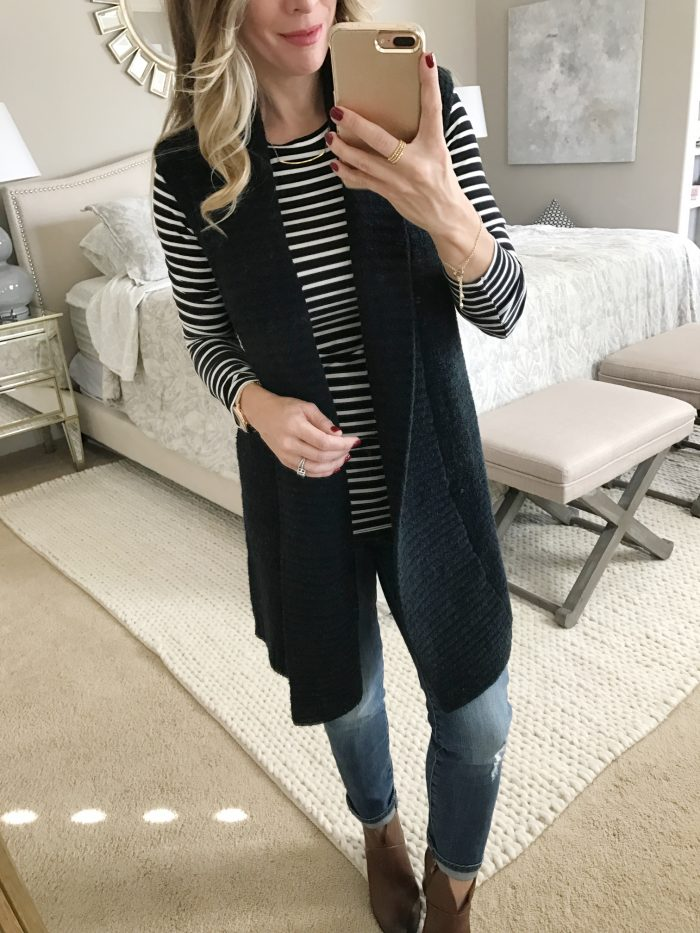 striped long sleeve top with long sweater vest