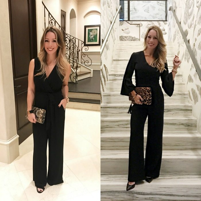 two black jumpsuits