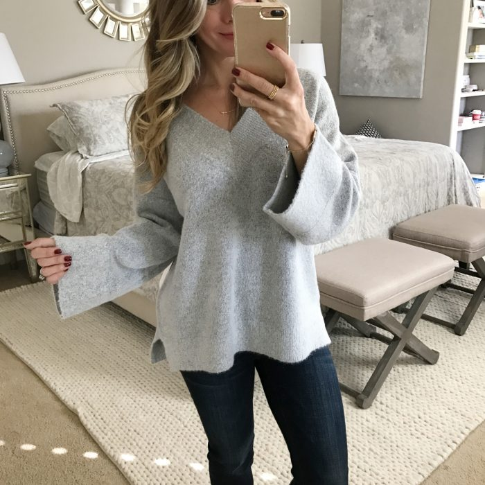 v-neck flare sleeve sweater