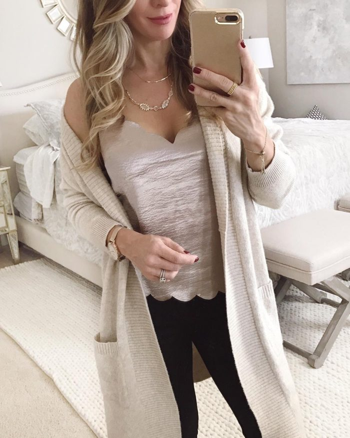 scallop cami and cardigan