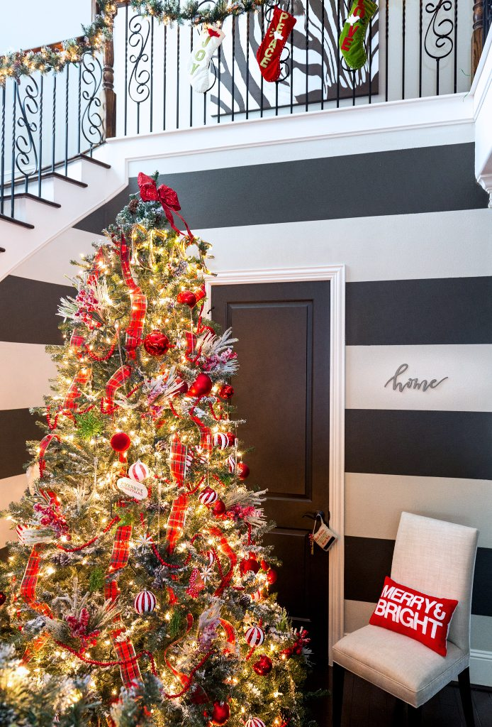 Christmas Home Tour - Red Christmas Tree -Honey We're Home