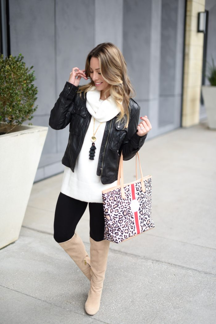 Cowl neck sweater with leggings boots and faux leather jacket 3
