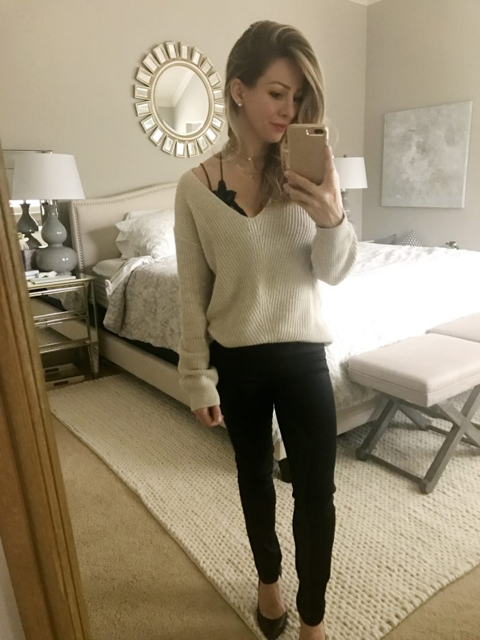 en7 black jeans and sweater with lace bralette