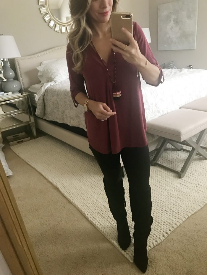 Jen7 black jeans and tunic