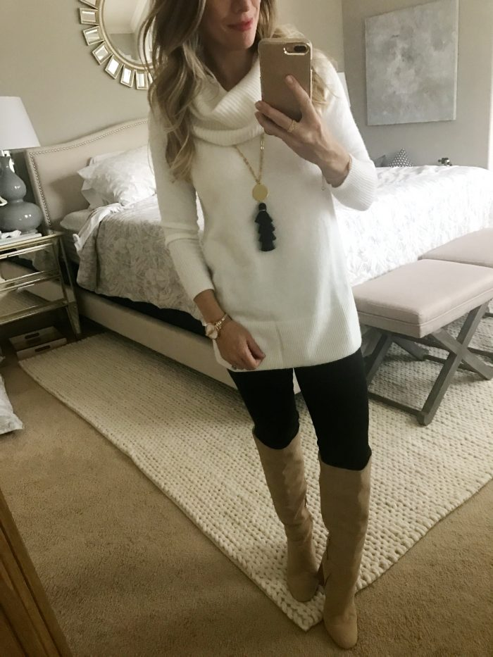 Jen7 black jeans and white sweater with boots
