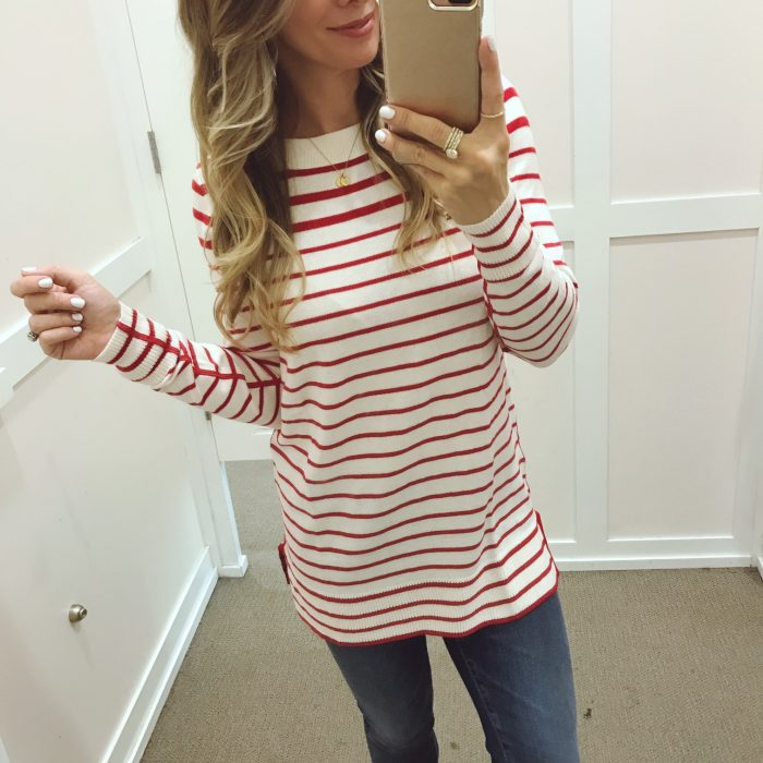 Loft striped red sweater