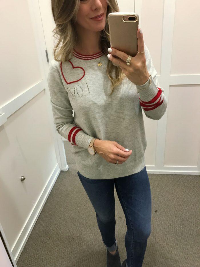 LOFT heart sweater