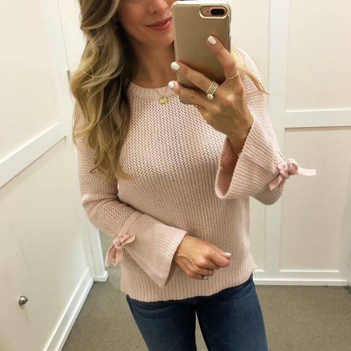 Loft pink bow sweater