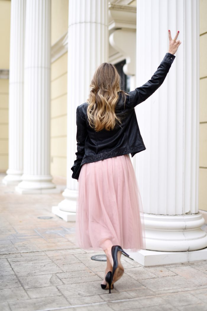 Party Outfit- black tee with pink tulle skirt 1