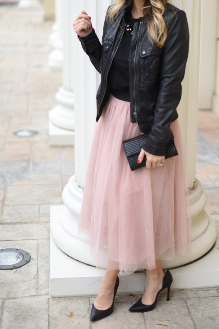Party Outfit- black tee with pink tulle skirt