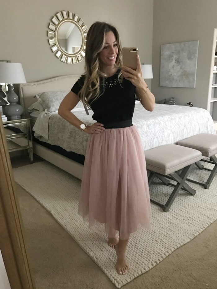 black top pink tulle skirt