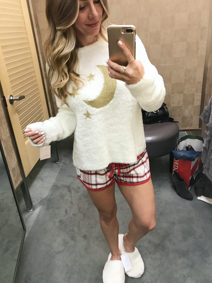 fuzzy moon sweater and shorts