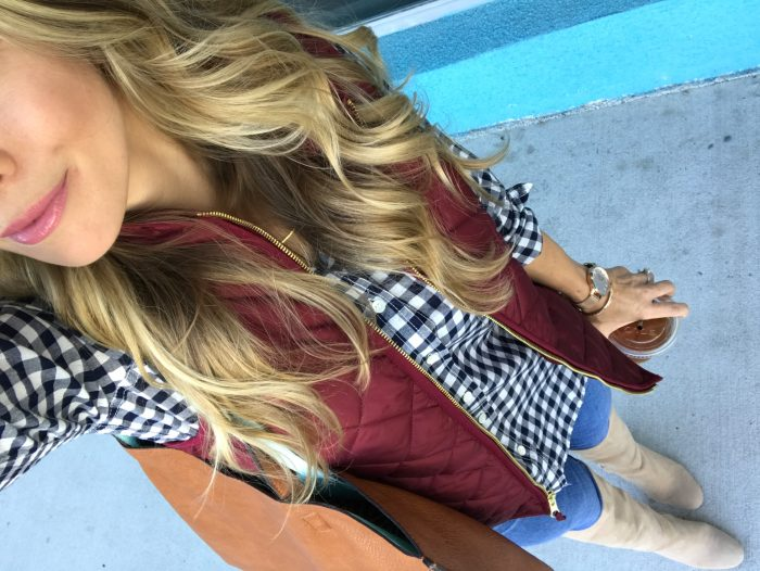 gingham top vest boots