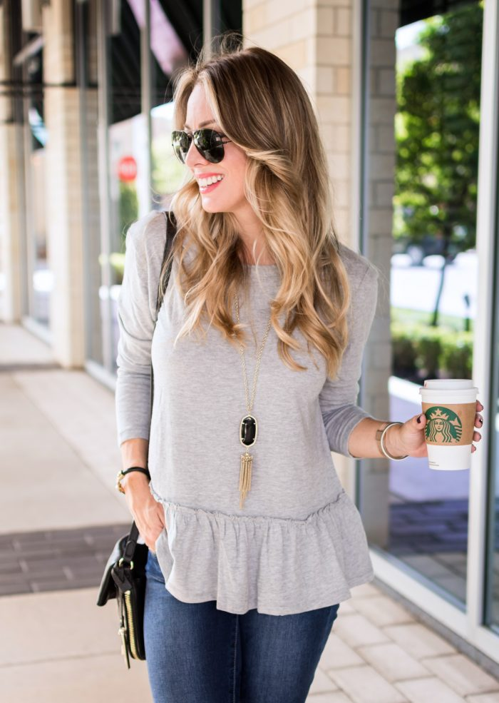grey peplum top