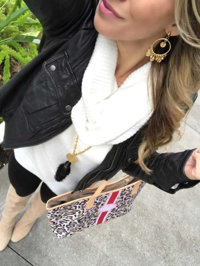 Comfy cute winter outfit - leggings, cowl neck sweater, black faux leather jacket (1)