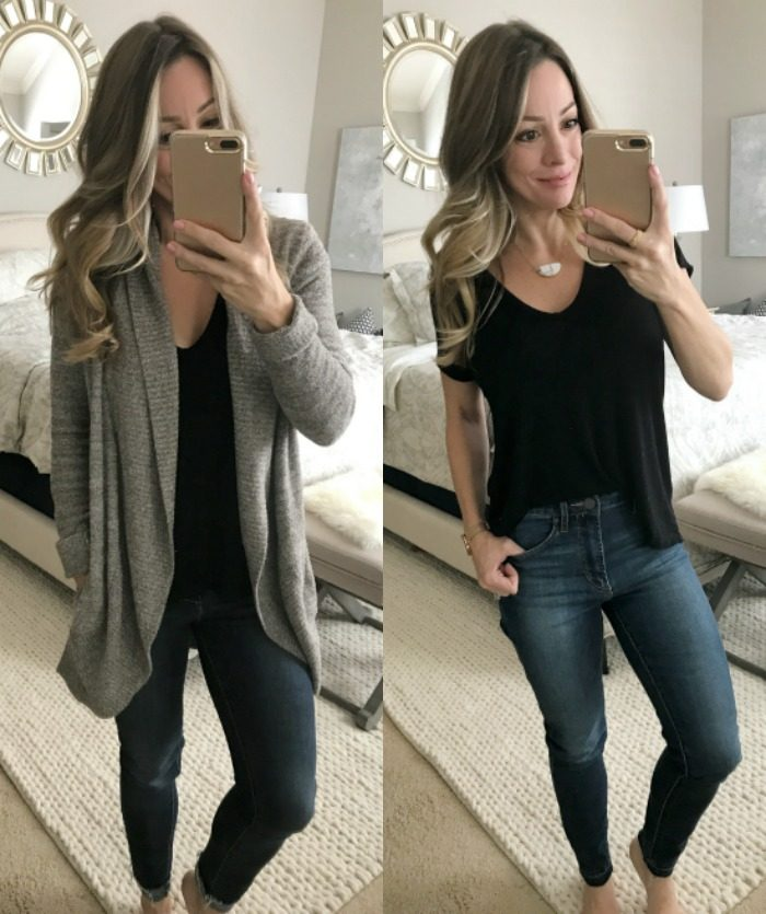 Cozy and casual outfit- black tee, barefoot dreams cardigan and skinny jeans