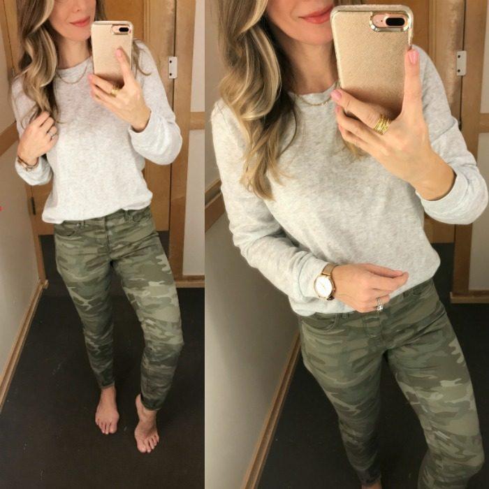LOFT camo pants grey top