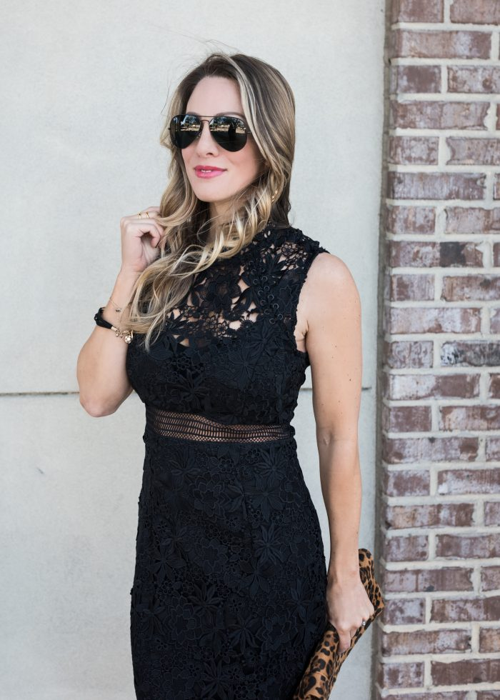 Little Black Lace Dress with black aviators