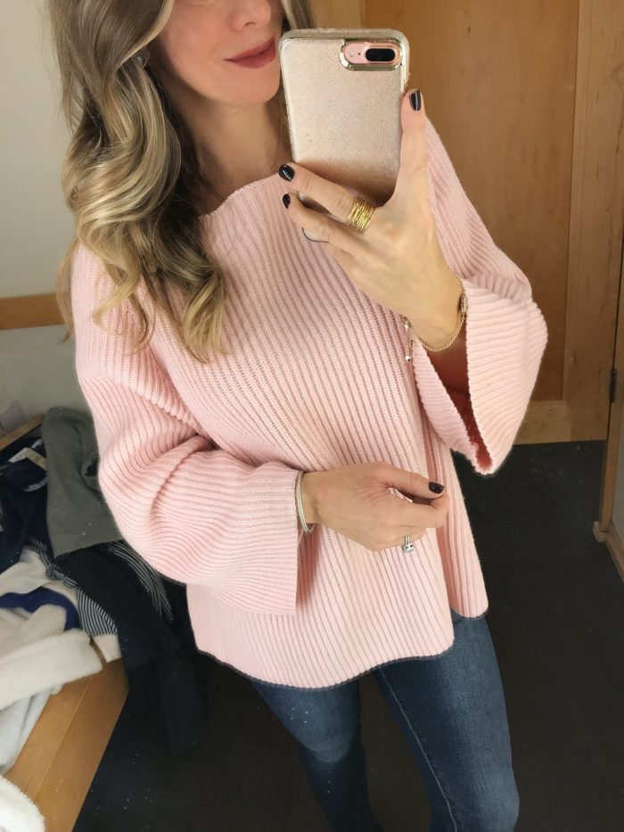 Loft pink cable knit sweater