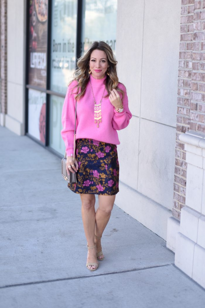 Pink sweater and print skirt 1