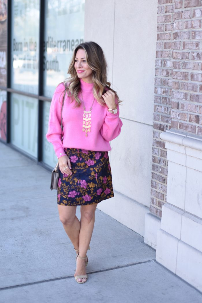Pink sweater and print skirt 2