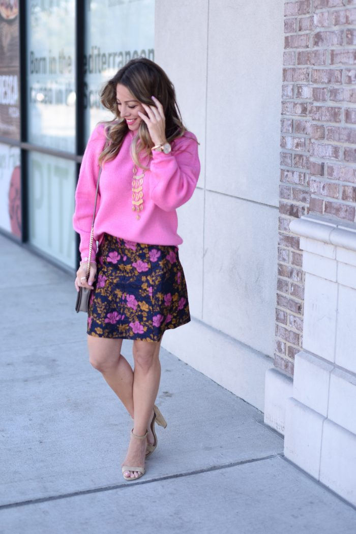 Pink sweater and print skirt 3