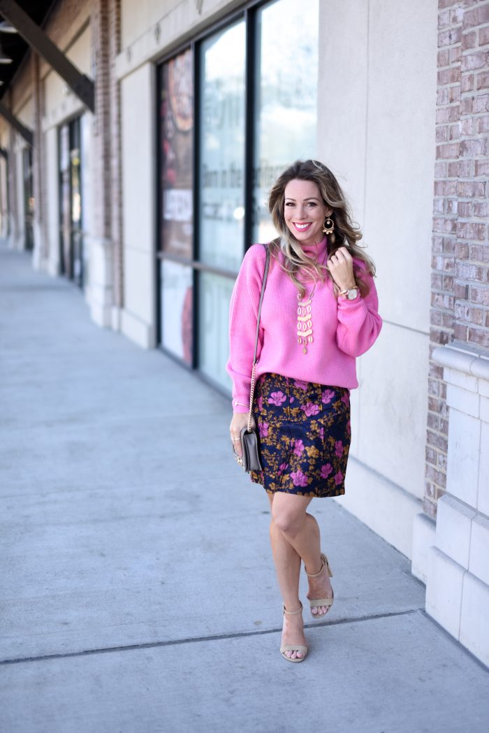 Pink sweater and print skirt 4