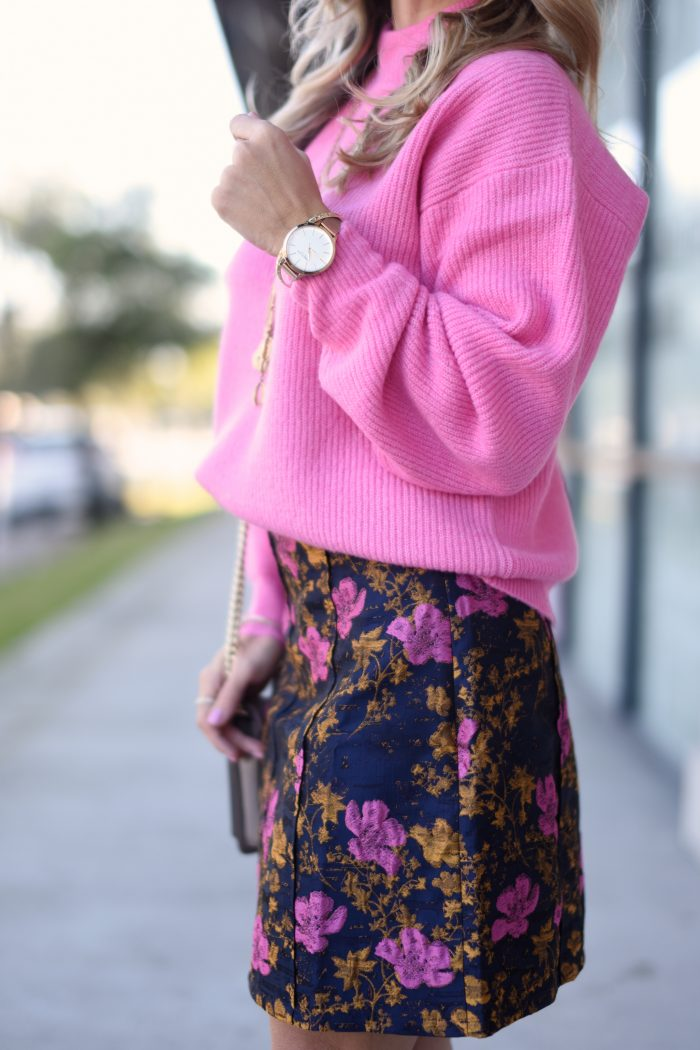 Pink sweater and print skirt 5