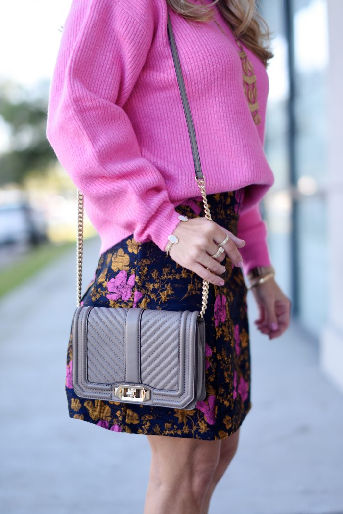 Pink sweater and print skirt 6