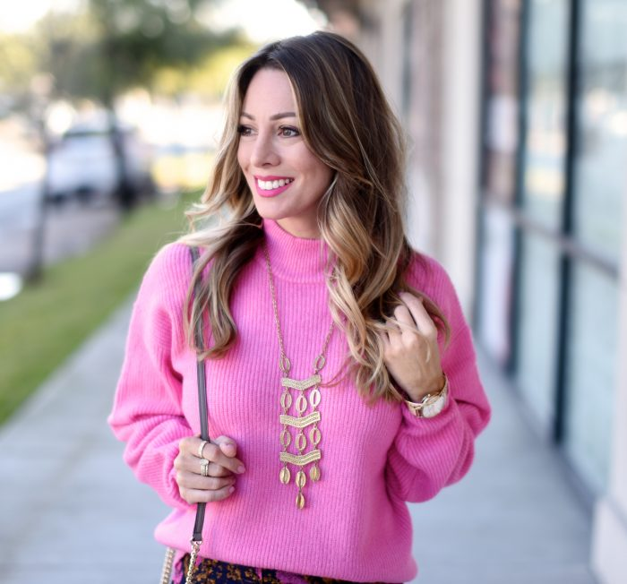 Pink sweater and print skirt 7