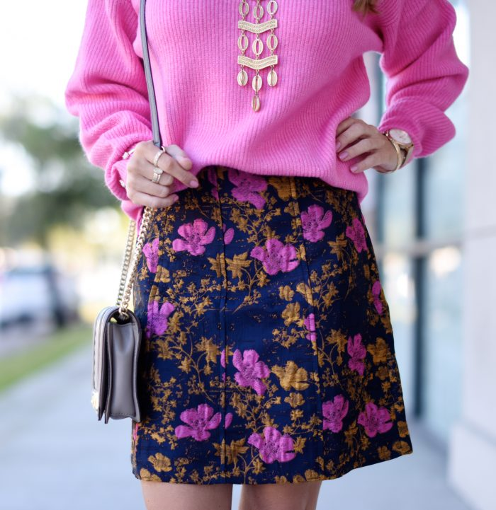 Pink sweater and print skirt 8