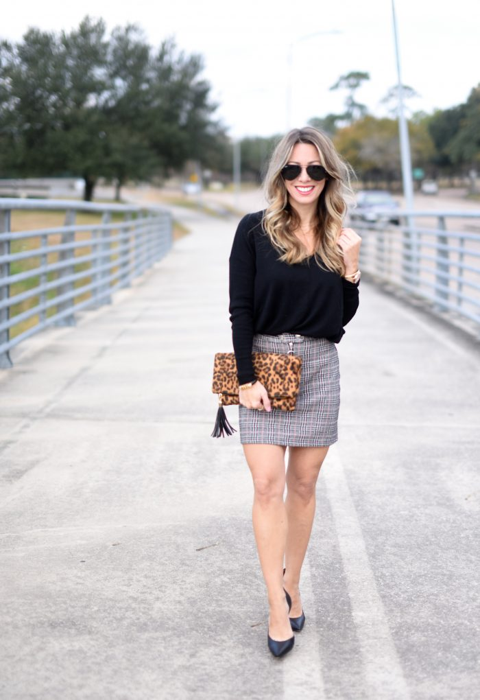 Plaid Skirt w black sweater 1