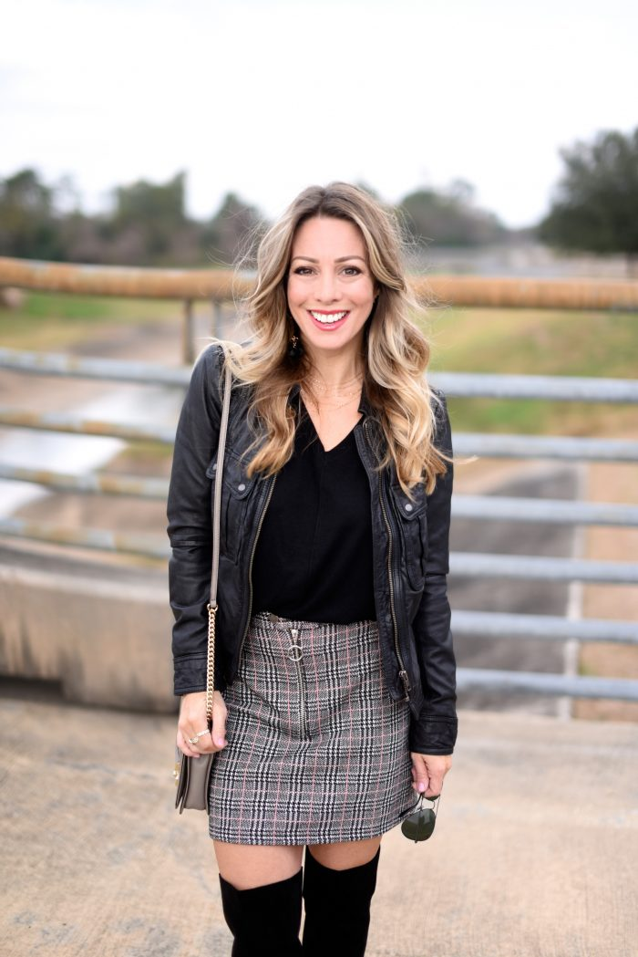 Plaid Skirt w black sweater and over the knee boots 2