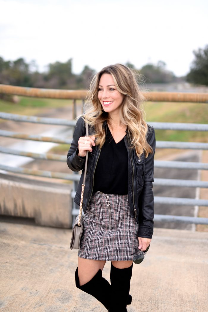 Plaid Skirt w black sweater and over the knee boots 3