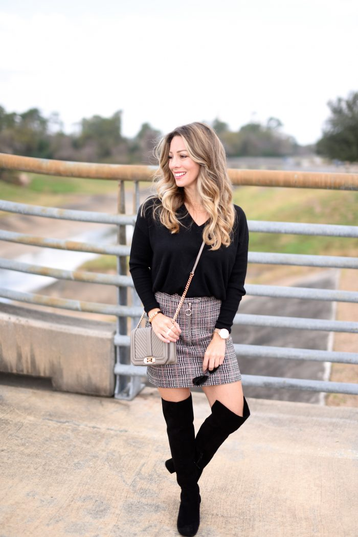 Plaid Skirt w black sweater and over the knee boots 4