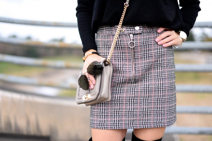 Plaid Skirt w black sweater and over the knee boots 5