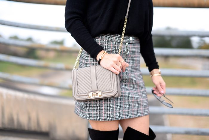 Plaid Skirt w black sweater and over the knee boots 6