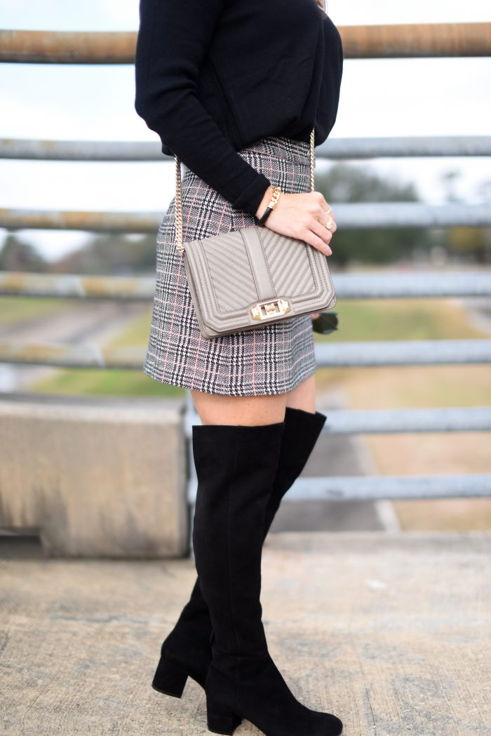 Plaid Skirt w black sweater and over the knee boots 7