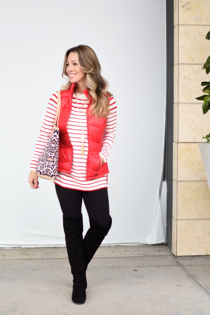 Red white stripe tunic and leggings