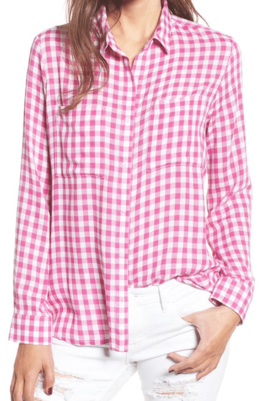 Gingham Button-Down Top