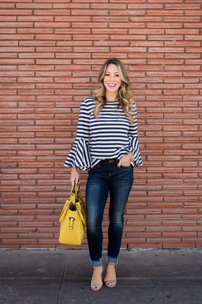 Stripe Bell Sleeve Top with skinny jeans and yellow bag 1