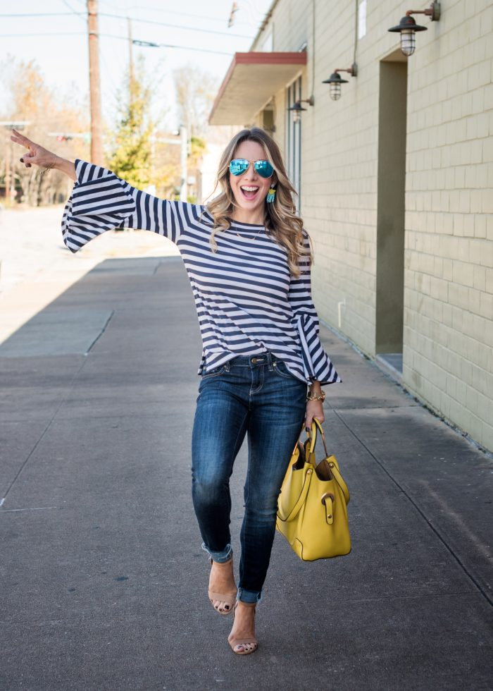 Stripe Bell Sleeve Top with skinny jeans and yellow bag 10