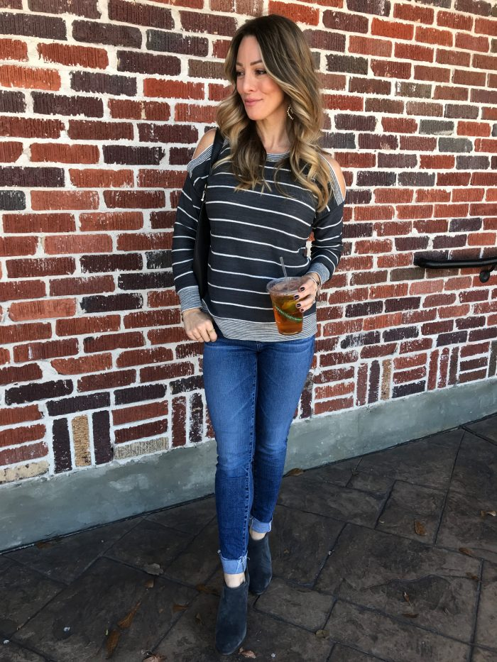 Striped off shoulder top w skinny jeans and booties