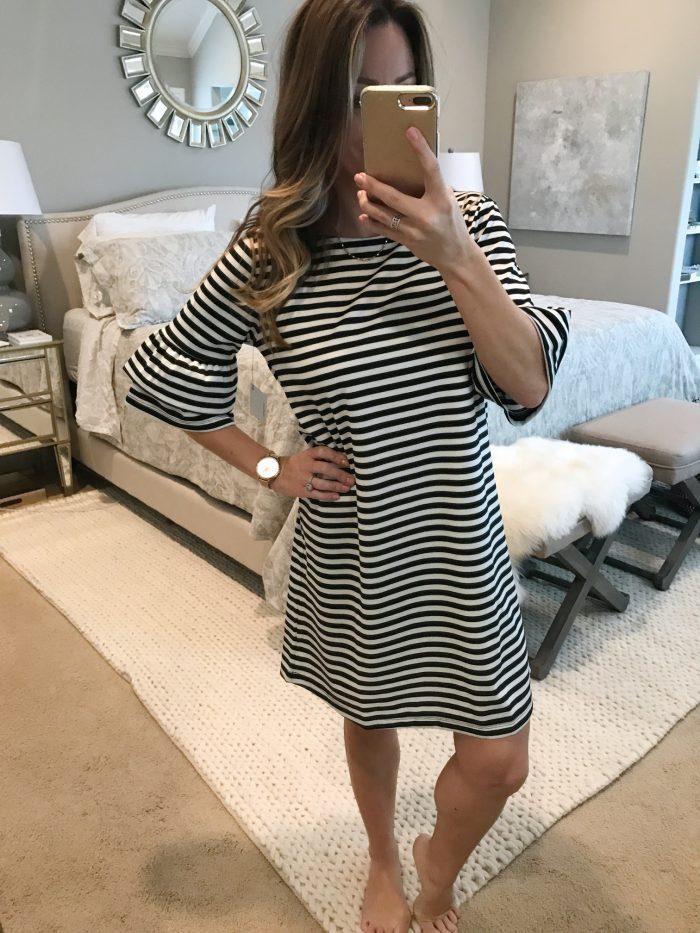 Striped ruffle sleeve dress