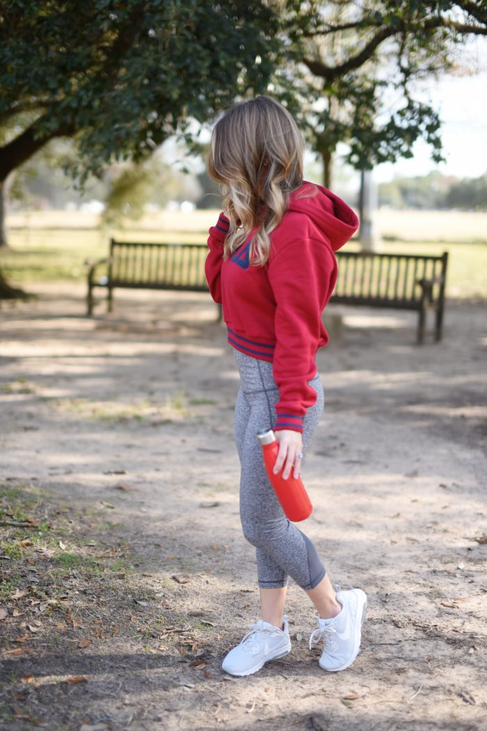 Zella workout crop leggings with red FILA sweatshirt