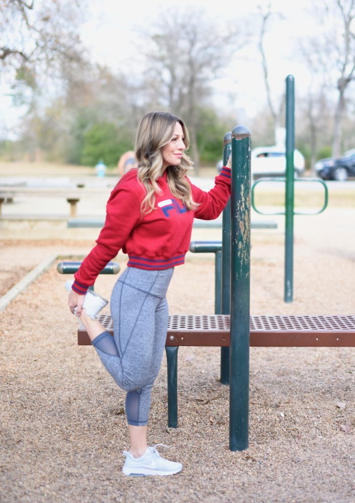 Zella workout crop leggings with red FILA sweatshirt.2